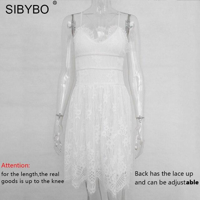 Sibybo Backless Spaghetti Strap Sexy Lace Dress Women Sleeveless V-Neck Loose Summer Dress Cotton Black Elegant Party Dresses 4