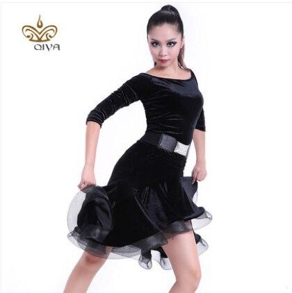 Latino plesna obleka seksi črna žametna latino dekleta obrobna bal - Umetnost, obrt in šivanje - Fotografija 2