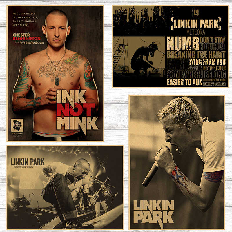 Il trasporto libero, Nostalgic Rock Band Linkin Park Chester Bennington Charles/carta kraft/Cafe/bar manifesto/Retro Poster/42*30 cm