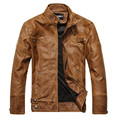 Leather Jacket men Slim Warm mens washed Leather Motorcycle Biker Jackets Standing Collar Coat Plus size XXL parka