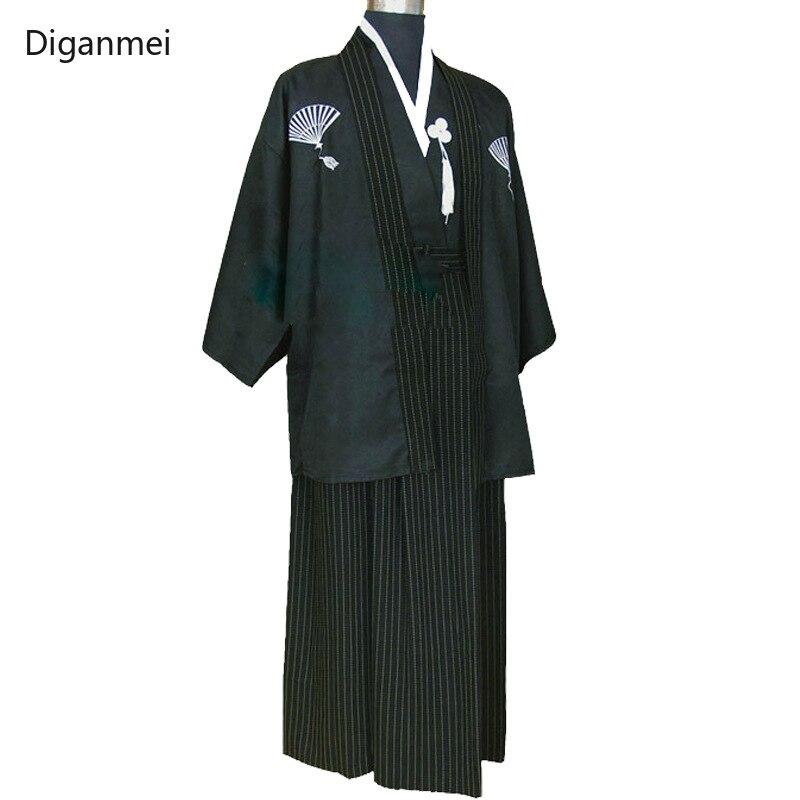 Scène performance costumes japonais samouraï kimono homme noir peignoir cosplay vintage vêtements japon style formel robe