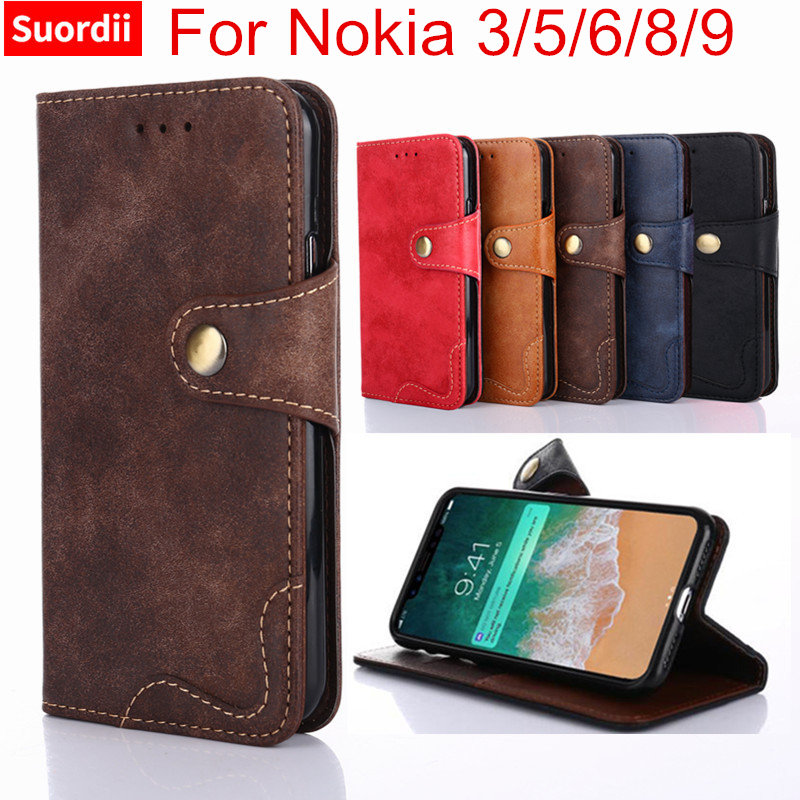 Luxury Case For Nokia 3 5 6 8 9 Cover Flip Riveting Leather Book Style Wallet Case With Kickstand For Nokia 3 Phone Bag Cases