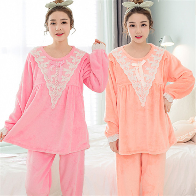 Winter thicken maternity coral fleece pajamas suit pregnant women postpartum home outfit flannel long-sleeved nursing sleepwear