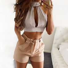 2017 New Bandage Women Crop Top Backless Bodycon Sexy Crop Tops Solid Turtleneck White Tank Top Short Bodycon Black Bralette