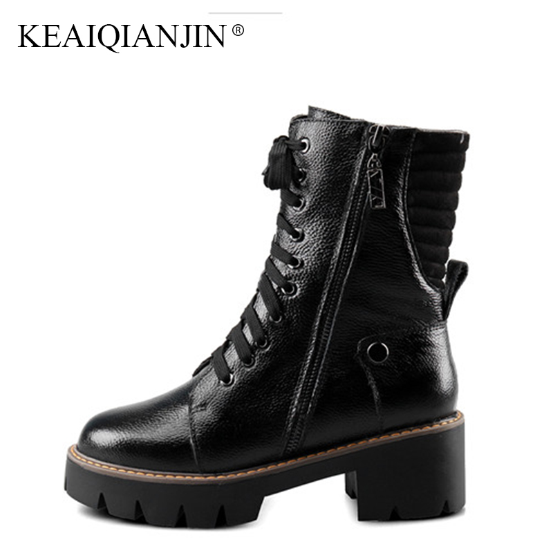 KEAIQIANJIN Woman Autumn Winter Black High Heeled Shoes Genuine Leather Lace Up Motorcycle Boots Plus Size 41 43 42 Martin Boots свитшот print bar pro gamer page 7