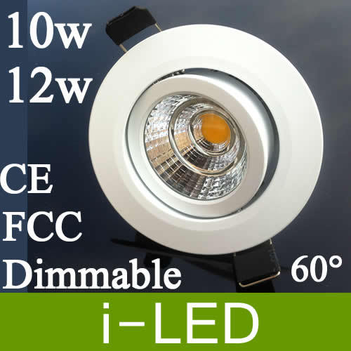 Power Driver Ul Ce Rohs+warranty 3 Years Refreshment Cree Cob 10w 12w Dimmable Led Downlight Fixture Recessed Light Warm/cool White