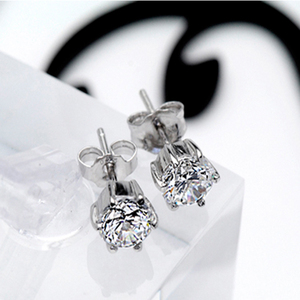 Image 3 - Classic Certified 1 CT Solitaire 18K Solid White Gold Moissanite Stud Earrings For Women Round Brilliant Cut VVS G H