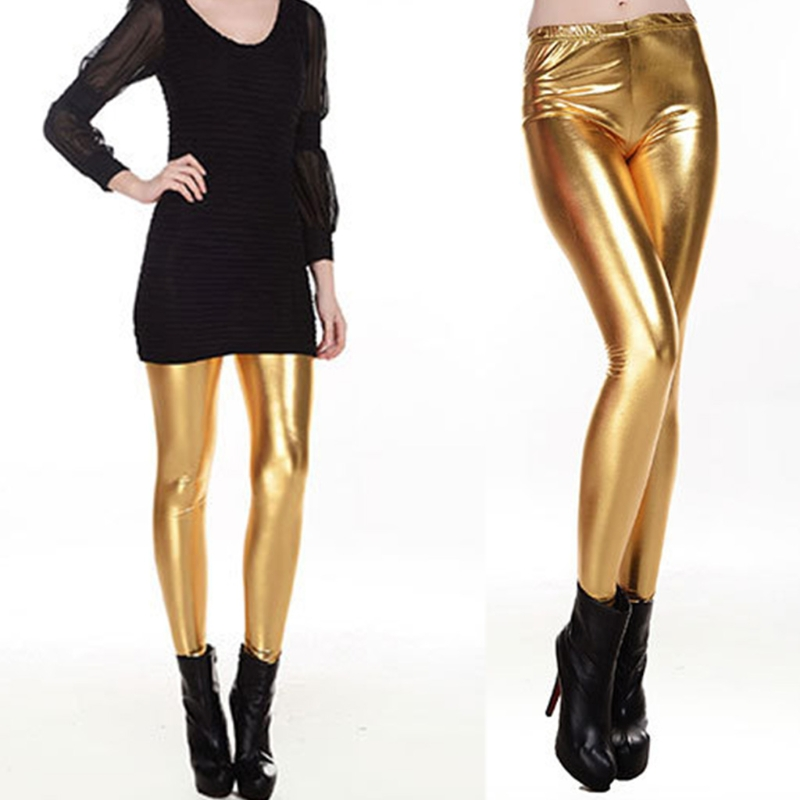 Women Shiny Silver Gold High-Waisted Faux Leather Stretch   Leggings