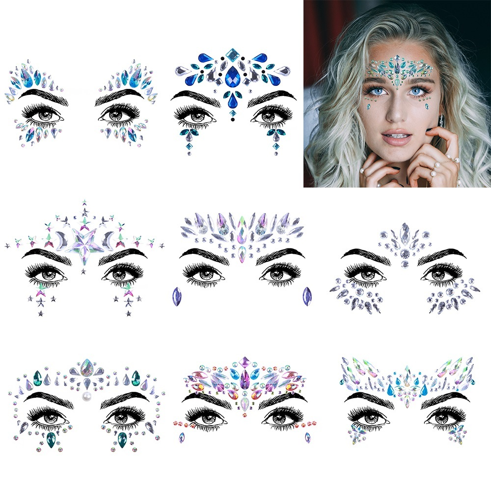 2 4 6 8 SetsTemporary Rhinestone Tattoo Stickers Face jewels Gems Festival  Party Makeup Body Art Gem Flash Tattoo Sticker Stage 685f3203dd9c