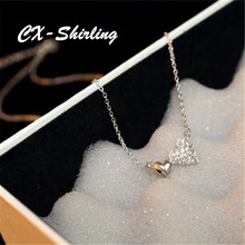 CX-Shirling New Fashion Crystal Heart Pendant Necklace For Women Gold Silver CC Chain Jewelry Valentine Necklaces Gift