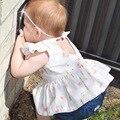 Новый 7-24 М Девочка Dress Детская Одежда Летний Стиль Девушки Повседневные Платья Цветочный Принт Детские Полые Dress детская Одежда