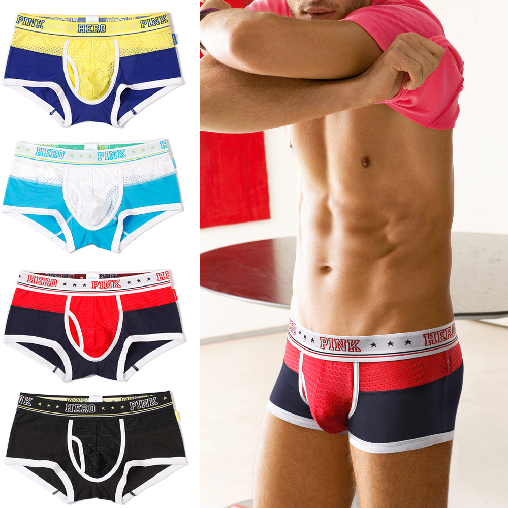 4pcs/lot Pack PINK HERO Men Underwear Breathable Mesh Panties Wide Belt Exercise Man Boxer Shorts Men's Underpant Fitness 1270E
