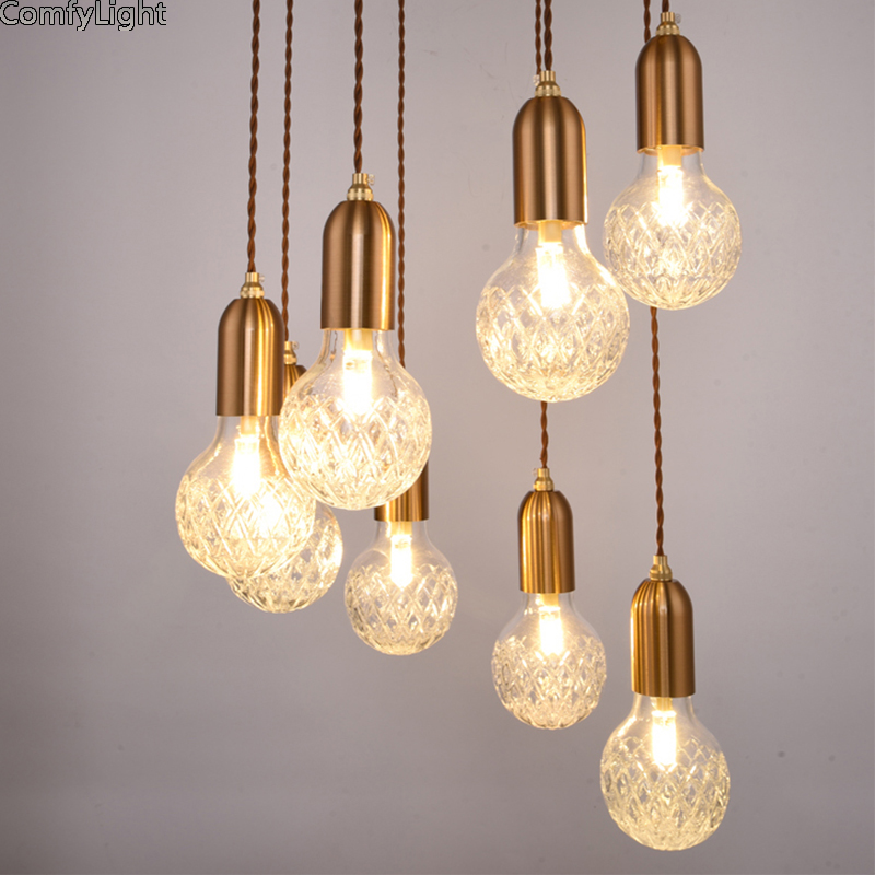Minimalisme verre pendentif lumière porte-lampe décor à la maison pendentif lumière prise LED ampoule prise cuivre couleur cuisine île/chevet