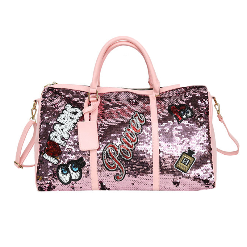 Women PU Leather Sequins Large Capacity Travel Bag With Duffle Bag Travel Outdoor Shoulder Messenger Bag