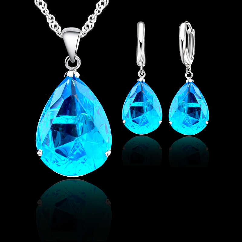 925 Silver Water Drop Crystal Bridal Jewelry Sets For Women Wedding Engagement Classic Necklace Earrings Set Bijoux