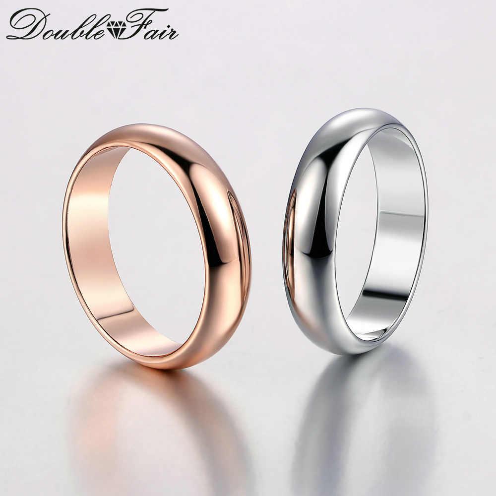 Double Fair คู่แบบเรียบง่ายรอบแหวน Rose Gold/Silver สีงานแต่งงานแฟชั่นเครื่องประดับสำหรับบุรุษและสตรี Lover hotSale DFR049