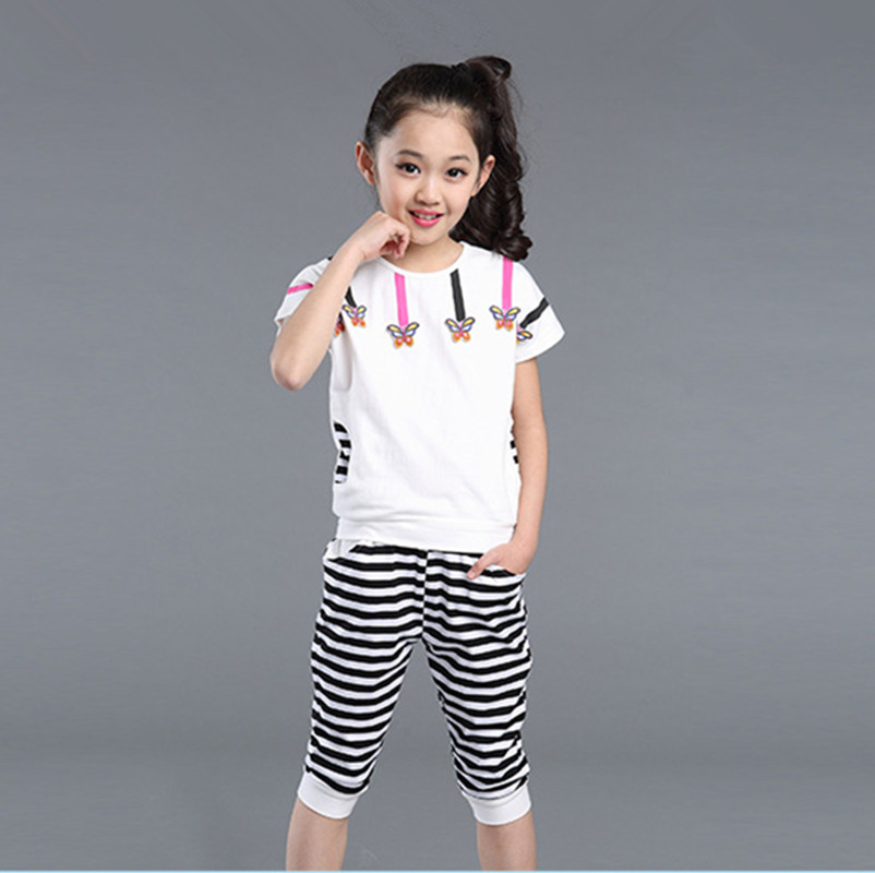 2017 Summer New Children Girl Clothing Set Cotton Kids Girls Clothes Sets Casual Fashion Short Sleeve T-shirt + Pants letter print o neck collar short sleeve t shirts rose white shorts girl sets 2017 summer small kids new fashion for girls sets