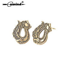 Cxwind New Vintage Animal Dragon Earrings Retro Viking Amulet Earrings For Women Men Earring Party Jewelry Brinco(China)
