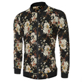 College Floral Printed Jacket Men Linen Coat Casual 2016 Autumn Fashion High Quality Slim Long Sleeve Crew Neck Overcoat Flower