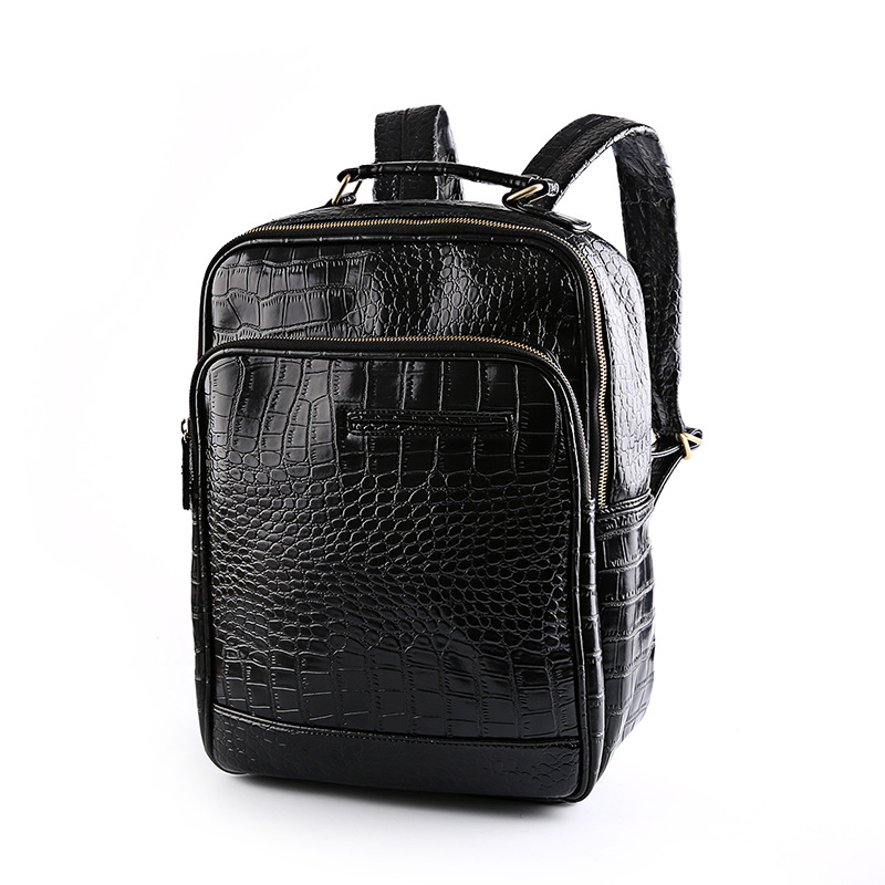 Europe and the United States fashion trend big backpack high school bag leisure men's bags England crocodile grain backpack world music pedagogy in the united states middle school