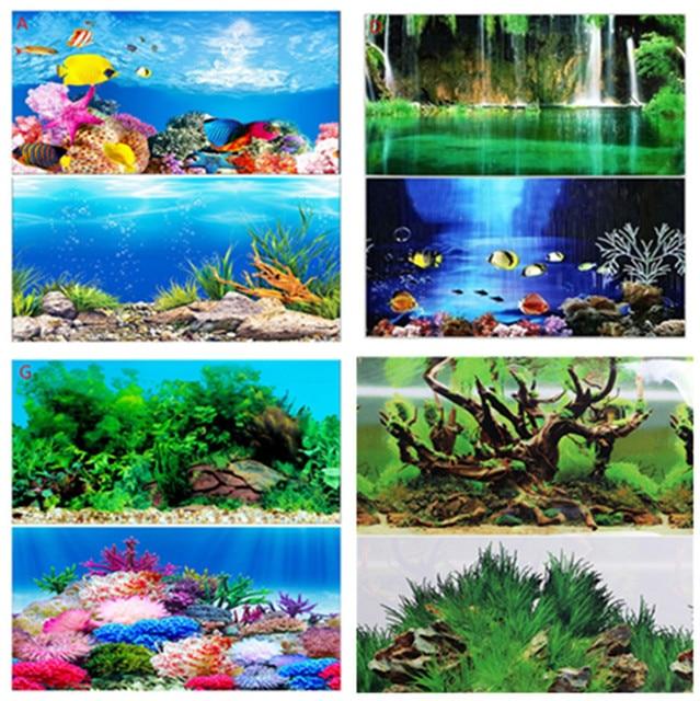 neue 30 40 50 60 cm hohe gl nzend aquarium hintergrund poster doppelseitige fisch tank ozean. Black Bedroom Furniture Sets. Home Design Ideas