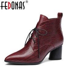 FEDONAS 1 mode femmes bottines automne hiver chaud talons hauts chaussures femme en cuir véritable croisé bout pointu dames bottes