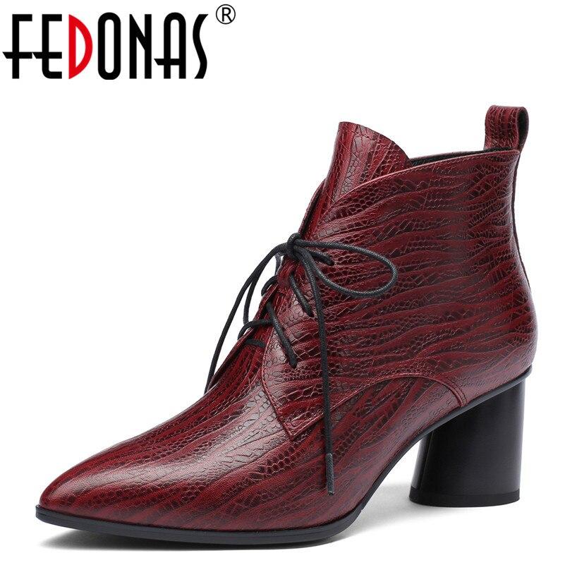 FEDONAS 1 أزياء المرأة حذاء من الجلد الخريف الشتاء الدافئة عالية الكعب أحذية امرأة جلد طبيعي عبر ربط اصبع القدم مدبب السيدات الأحذية-في أحذية الكاحل من أحذية على  مجموعة 1