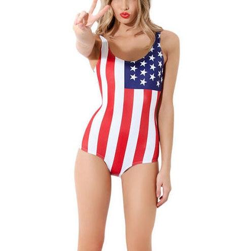 Summer Style Women One Piece Swimsuit American Flag Print Sexy Beach  Bodysuit Bathing Suit Swimwear Monokini Swimsuits WZYZLT005 659c4eee3