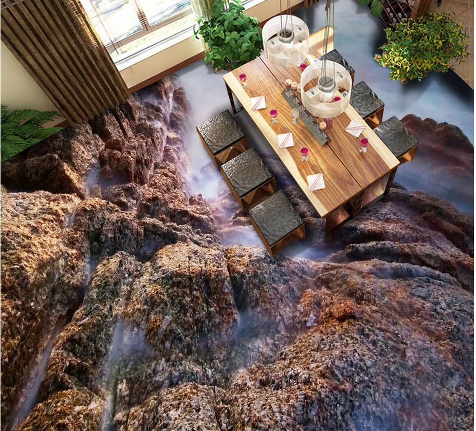 3d Farbe Stein Fliesen Badezimmer Boden Wohnzimmer Pvc Wasserdichte Mural MalereiChina