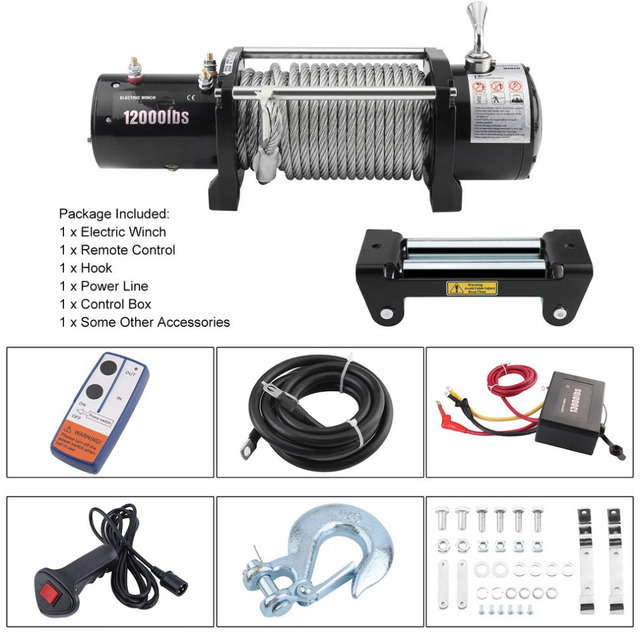 Practical 12v Remote Control Electric Winch Motor For Offroad Vehicle Load Capacity 12000lb Ful Accessories Eu Plug