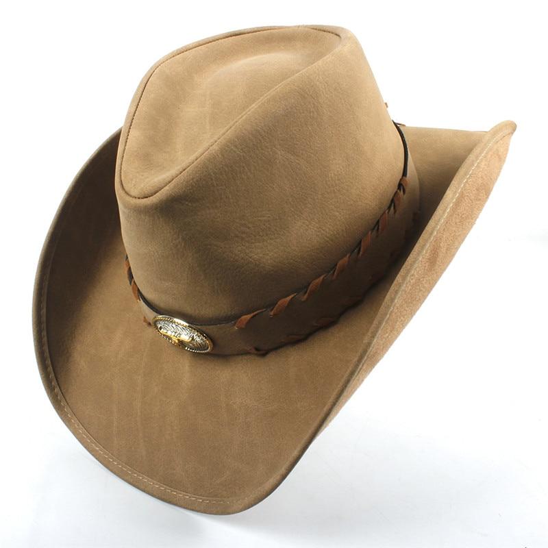 9 estilo vaquero occidental Sombrero para los hombres de las mujeres de  cuero Sombrero Hombre Jazz 21a33d0f3b2