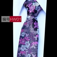 Polyester Wedding Jacquard Woven Men Classic Mans Tie Necktie Fashion Plaid Print Mens Ties 2018 New Accessories