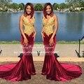 Chegada nova Elegante Longo Vestido De Baile 2017 Sereia Com Decote Em V Top de Ouro Lace Pavimento Comprimento Vestidos De Baile De Veludo Africano Rainha