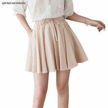 Preppy Style Casual Elastic High Waisted Summer Skirts Women Culotte Short Mini Tutu Skirts With Pockets jupe tutu femme