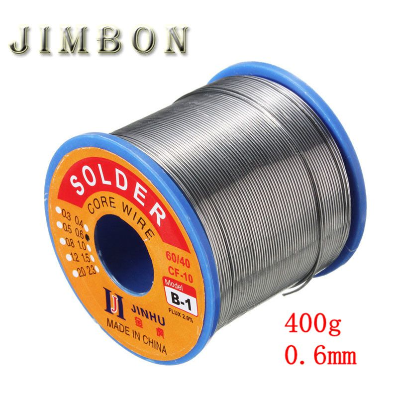 JimBon 400g 0.6mm <font><b>60</b></font>/<font><b>40</b></font> Tin Lead Line Rosin Core 2.0% Flux <font><b>Solder</b></font> Welding Iron Wire Reel image