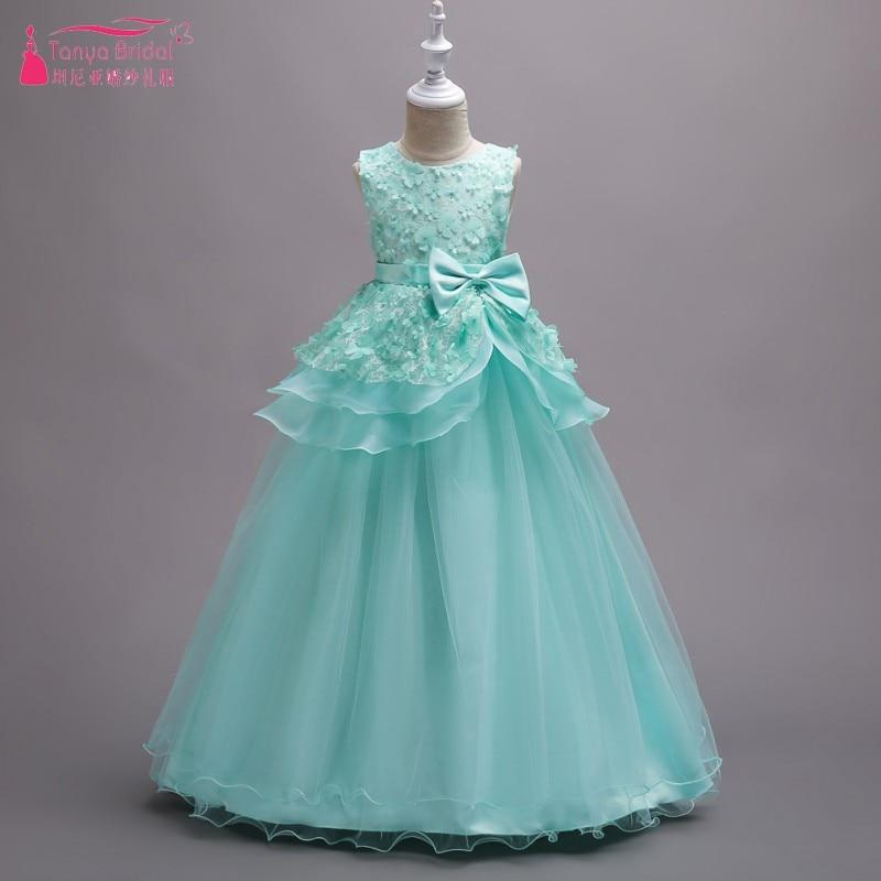 Floor Length   Flower     Girl     Dresses   Pearl Pink   Girls   Ball Gown Pretty Little   Girl     Dress     Flowers   robe enfant mariage DQG282