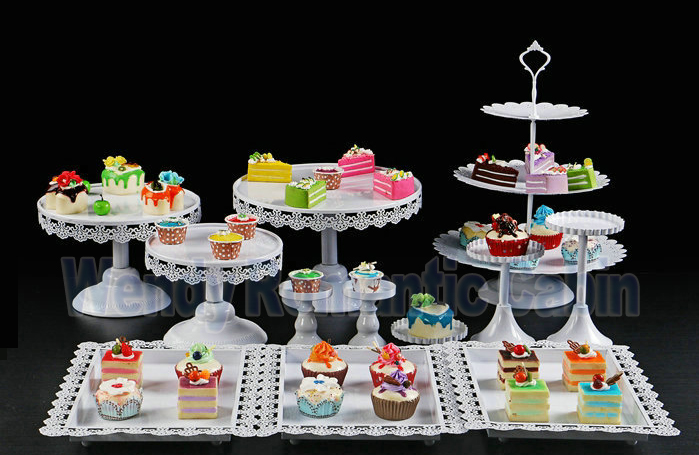White Wedding Dessert Tray Cake Stand Cupcake Pan Cake