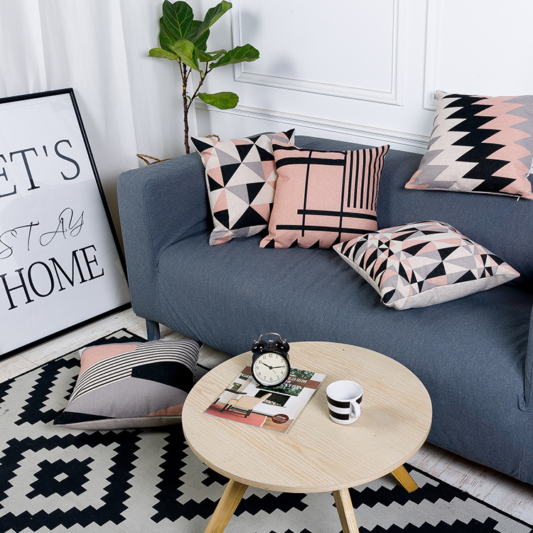 Pink Pillow Cover Nordic Style Cushion Cover Decorative Pillows Case Gray Geometric Cushions Covers Home Decor for Sofa 45x45cm