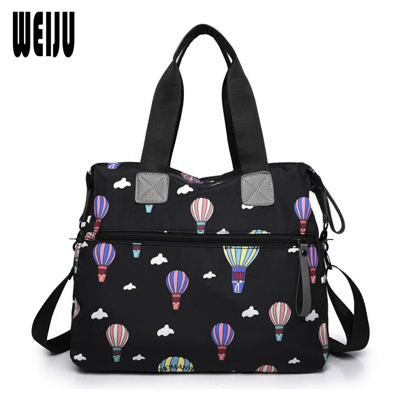 WEIJU Women Bag Handbags Waterproof Nylon Shoulder Bags Women Tote Bag Printing Female Large Capacity Messenger Bags weiju new 2017 men messenger bags