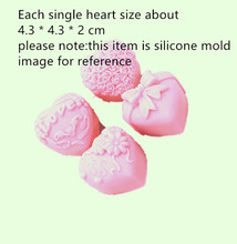 Four kinds of Love patterns Moon cake mold Heart Silicone soap Molds