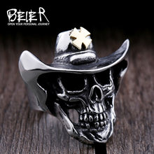 6c9529c51b3d7 Beier new store 316L Stainless Steel ring top quality gold Cross hat skull ring  fashion Jewelry BR8-429