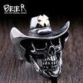 Beier nueva tienda de anillo de acero inoxidable 316l joyería de moda anillo de cruz de oro del cráneo del sombrero de calidad superior br8-429