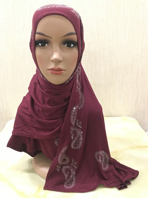 H1325 fashion modal elastic jersey cotton long scarf with rhinestones women s headwrap fast delivery free