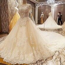 Backlake Latest wedding gown designs with long train ball gown zipper back  short sleeves bruidsjurken 2018 fefb2df72011