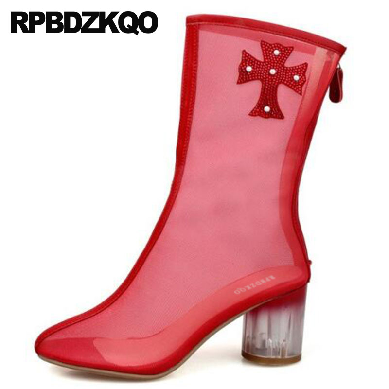 d3c29054f Verão Tornozelo Fora Sandálias Mulheres Cortar Chineses Bege Claro Curto De  Strass Moda Sapatos Chunky Novas Marca Damas branco Malha vermelho  Transparente ...