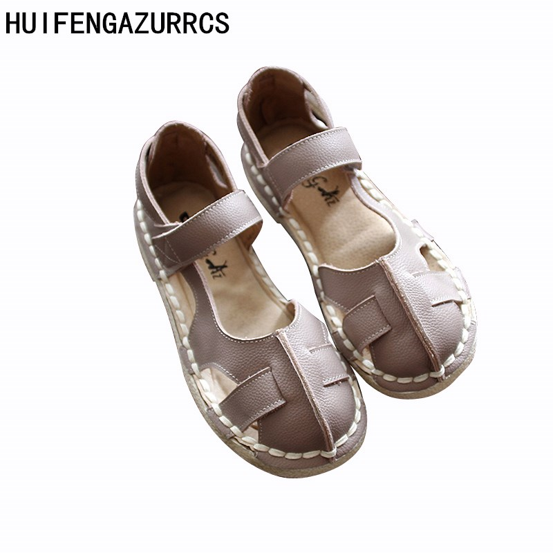 HUIFENGAZURRCS-2018 new Genuine Leather shoes,pure handmade Comfortable casual sandals ,the retro art mori girl shoes,3colors huifengazurrcs new genuine leather
