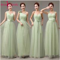 Beauty Emily Tulle Mint Green Long Bridesmaid Dresses 2018 Bridesmaid Robes Cheap A Line Vestidos Para