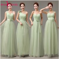 Beauty Emily Tulle Mint Green Long Bridesmaid Dresses 2018 Bridesmaid Robes Cheap A Line Vestidos Para