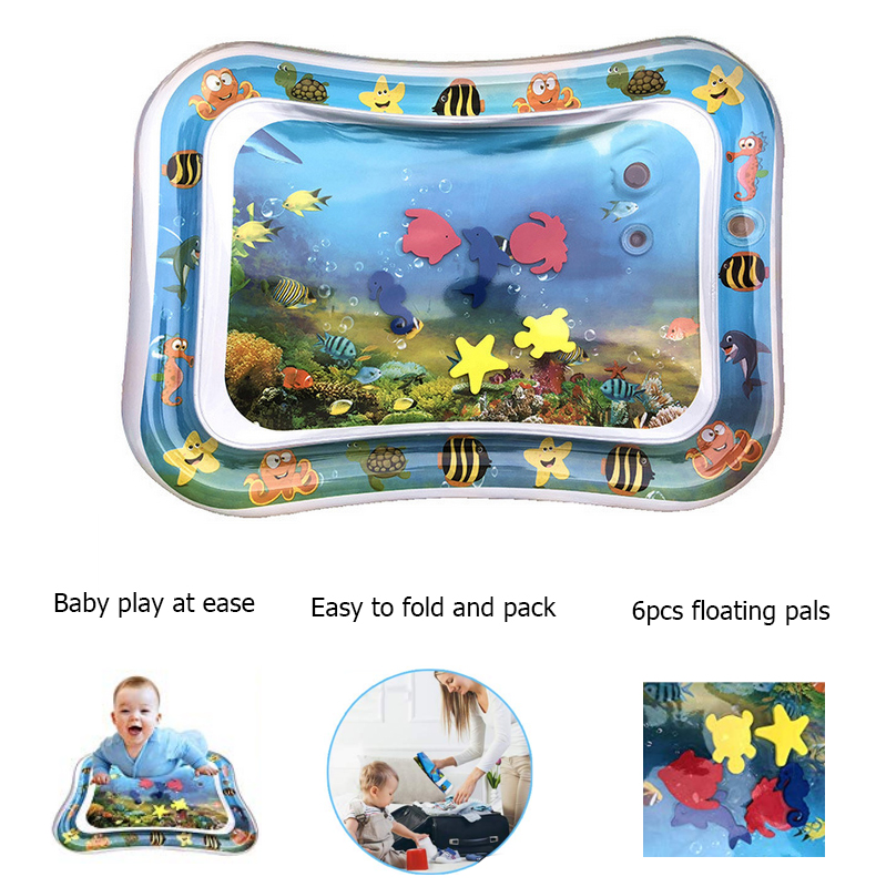 Inflatable Baby Crawling Water Mat Infant Tummy Time Play Mat Toddler Fun Activity Play Center Water Cushion Pad Dual Use Toy