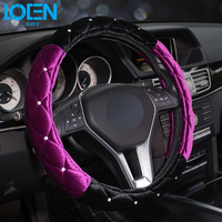 LOEN Plush Winter Car Steering Wheel Cover Diamond Rhinestone Universal Steering Wheel Cover Auto Supplies Cars